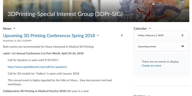 3D Printing Special Interest Group D2L Front Page
